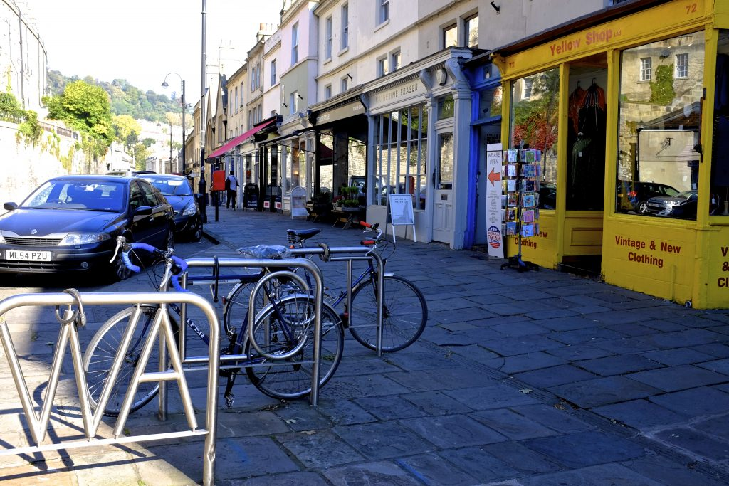Walcot Street in Bath is a short walk from the Bath YMCA and is a lovely place for a stroll